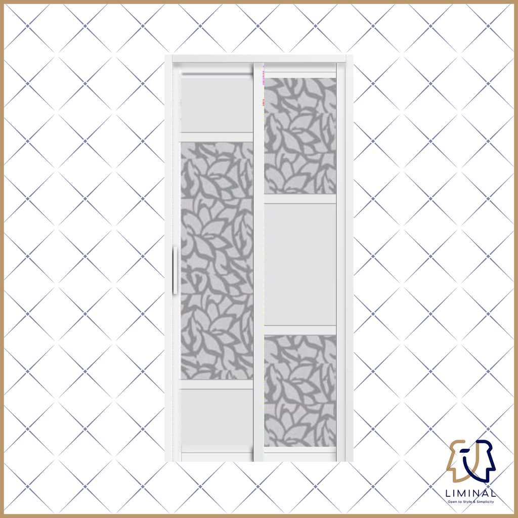 Slide & Swing Bathroom Doors (Floral/Nature Mixed Monochrome)
