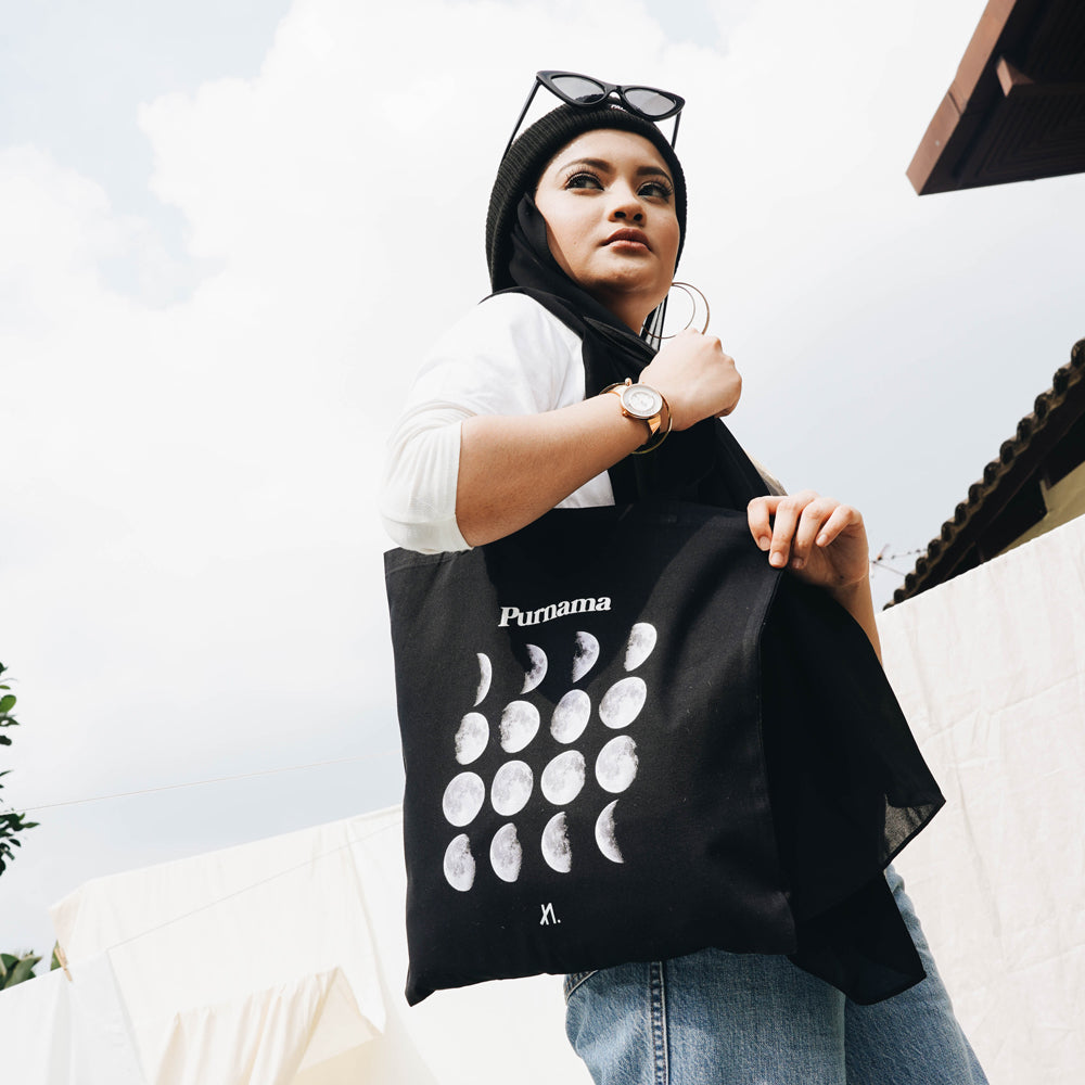 Purnama Black Tote Bag
