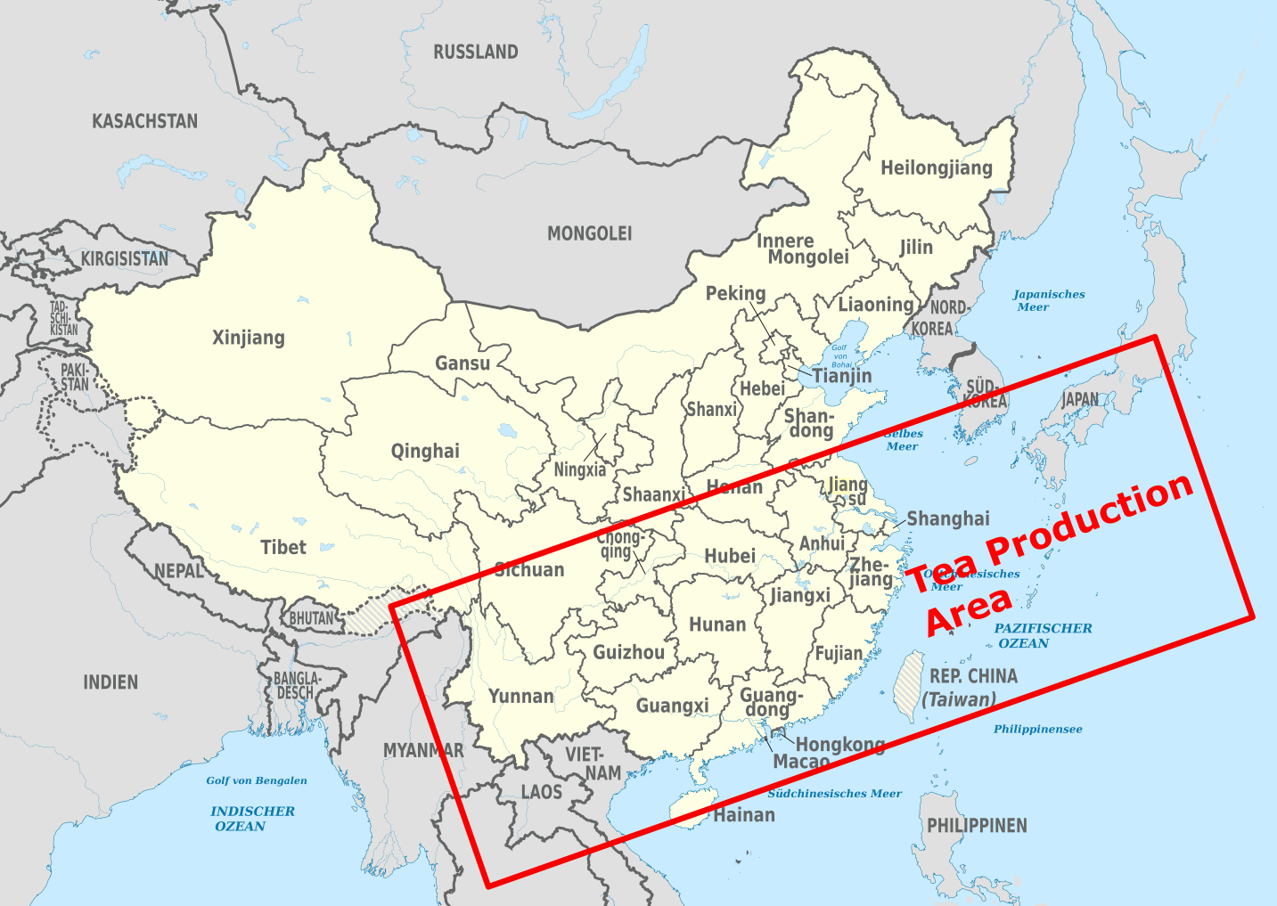 La production de thés en Chine