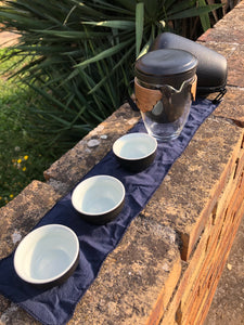 Travel Gaiwan with Three Cups - Black Wave and Wood series
