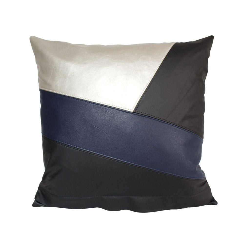 Black, navy and silver wrapped small leather cushion