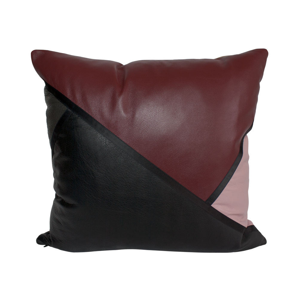 Red, black and pink wrapped small leather cushion
