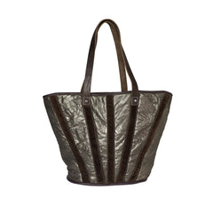 BAGUETTE LEATHER TOTE in GOLD