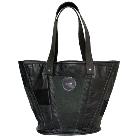 BAGUETTE LEATHER TOTE in BLACK