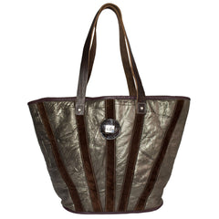 Gold and brown striped tote bag