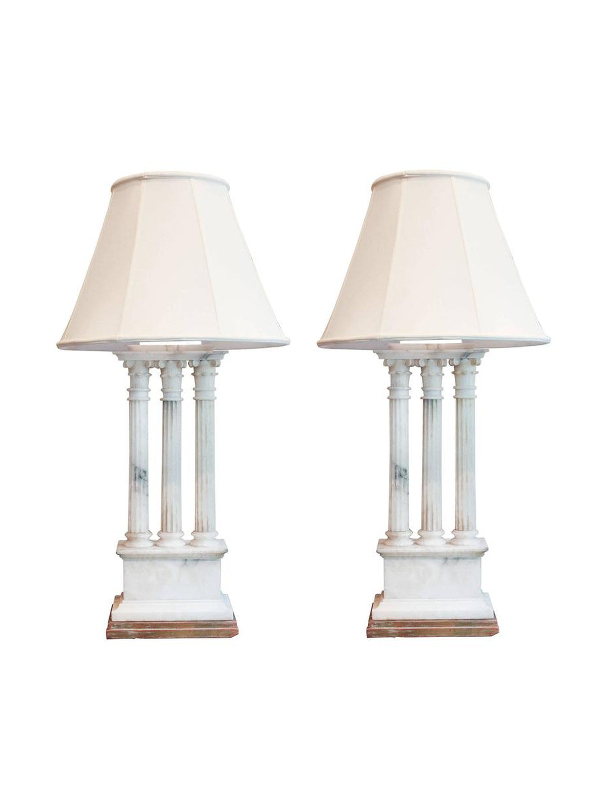 Neoclassical White Alabaster Table Lamps