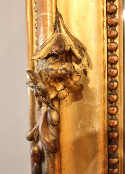 Louis XVI Style Gilt Mirror Floral Carvings Close up