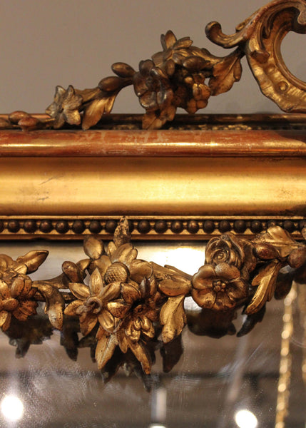 Louis XVI Style Gilt Mirror Floral Carvings