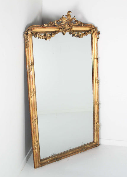 Louis XVI Giltwood Mirror Full Front Side