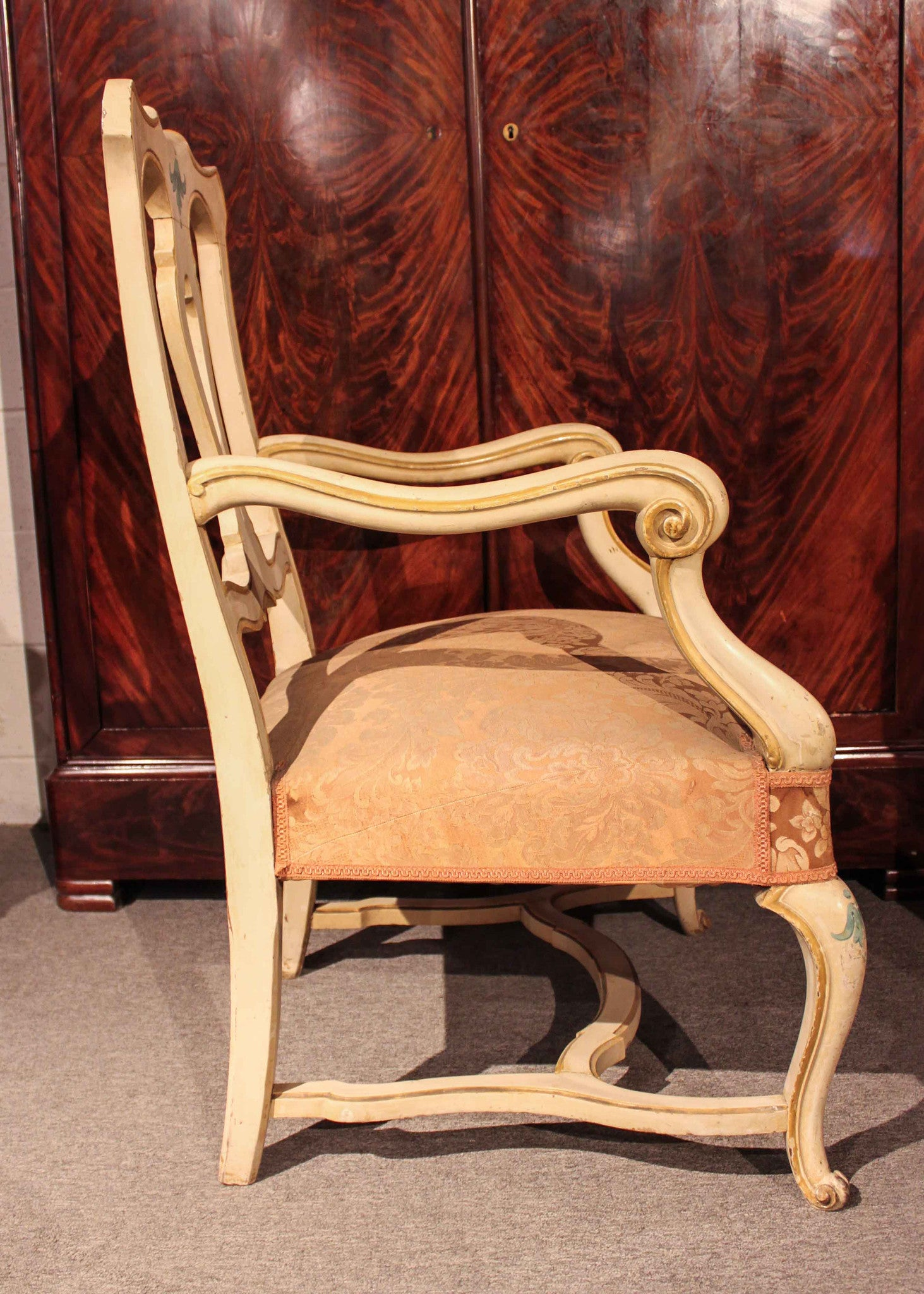 Antique italian chairs -  Pair Of Antique Italian Painted Armchairs