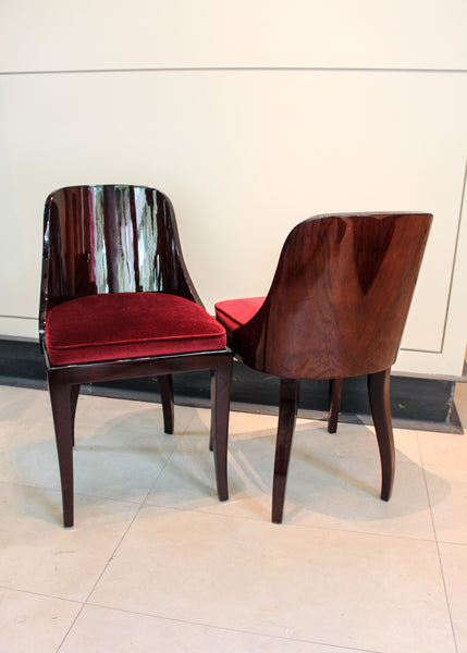 Set of Six Lacquered Rosewood Chairs