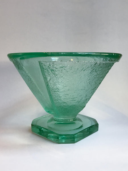 Green Glass Bowl Attributed to Daum