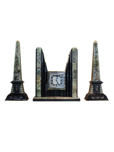 ATO Art Deco Egyptian Revival Clock and Obelisks