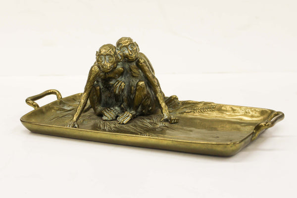"Figural Brass Tray by Franz Xaver Bergmann, Signed ""Nam Greb"""