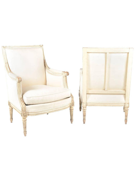 French Bergere Armchairs, Louis XVI Style