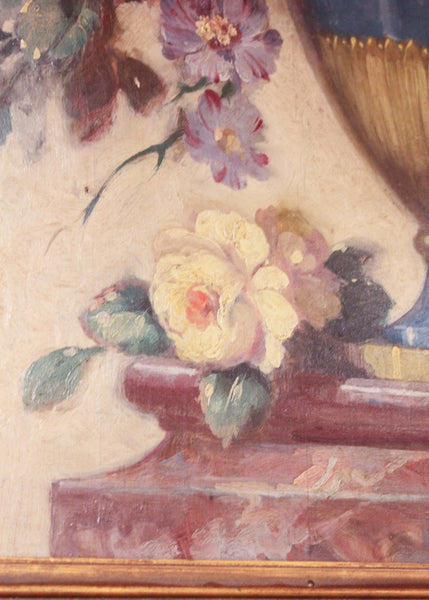 French Trumeau Mirror Flower Painting