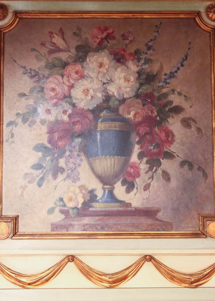 French Trumeau Mirror Floral Painting