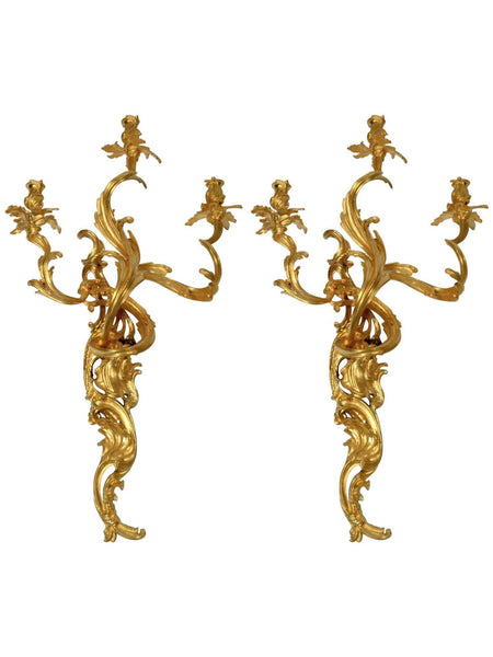 Gilt Bronze Louis XV Style Three-Light Wall Sconces, Pair