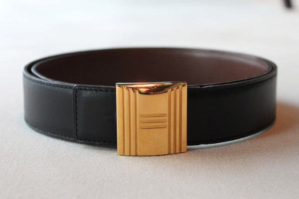 Hermes Gold H Belt With Leather