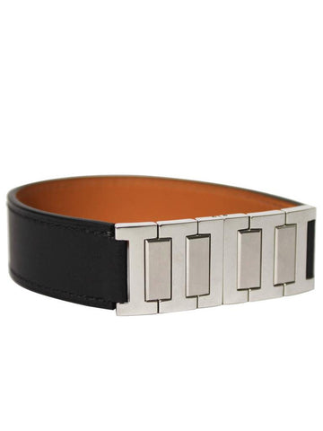 Hermès Leather and Silver 'H' Cuff Bangle Bracelet