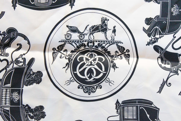 Hermès Pocket Square with Carriage Motif