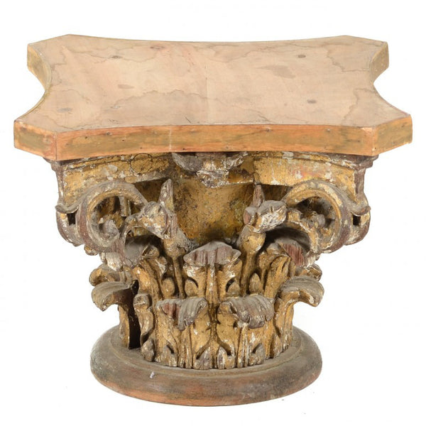 Hand Carved Wood Corinthian Capital, 18th Century