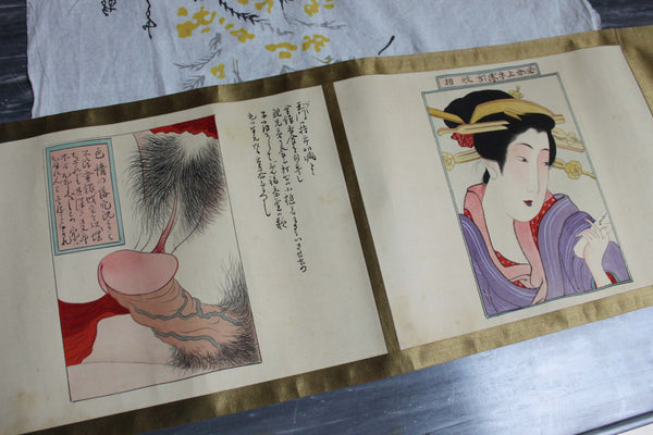 Japanese Shunga Erotic Scroll