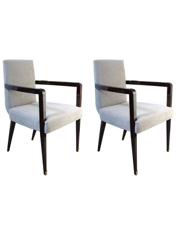 Jean Pascaud Rosewood Armchairs, Pair