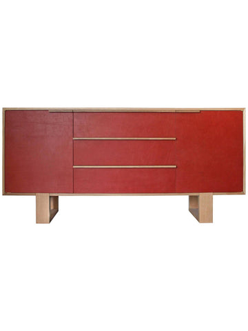 Orange Leather Thru Credenza by Kate Duncan