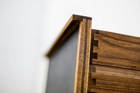 Parallel Walnut and Leather Night Stands by Kate Duncan, Pair