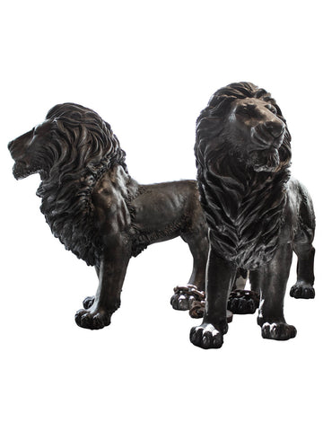 Life-Size Bronze Standing Lions, Pair