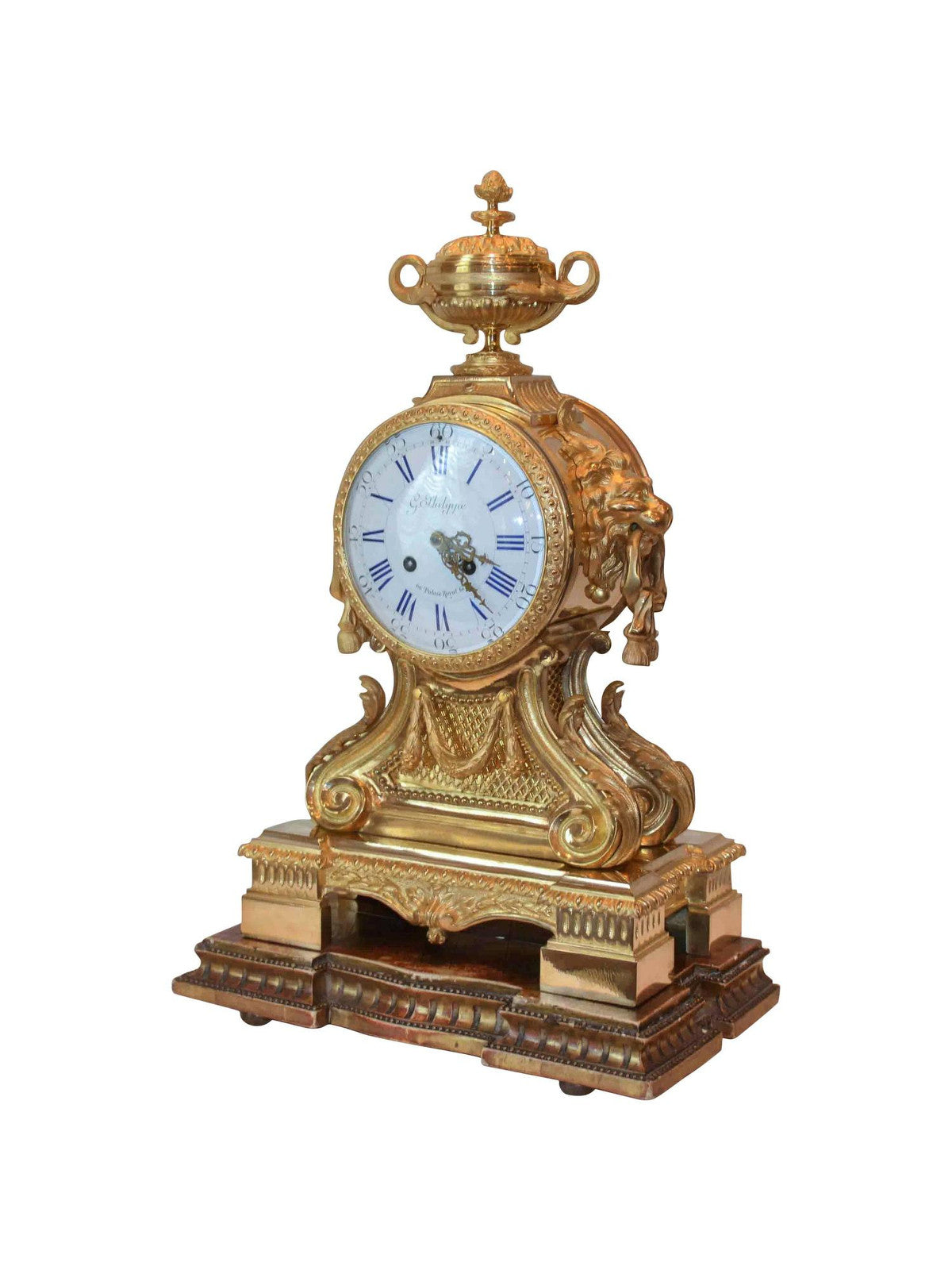 Louis XVI-Style Lion's Head Clock by G. Philippe