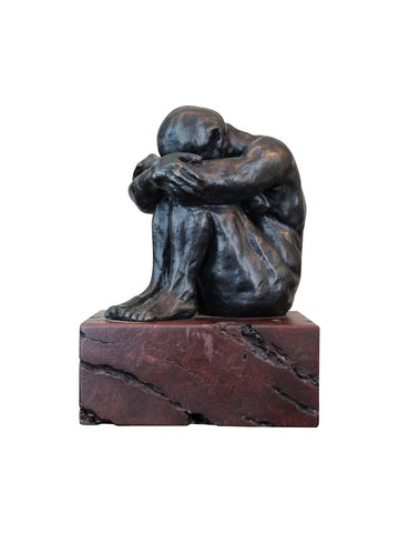 Crouching Man Bronze Sculpture by Lynn Falconer