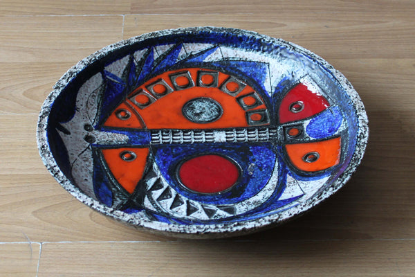 Modernist Pottery Bowl with Fish Motif