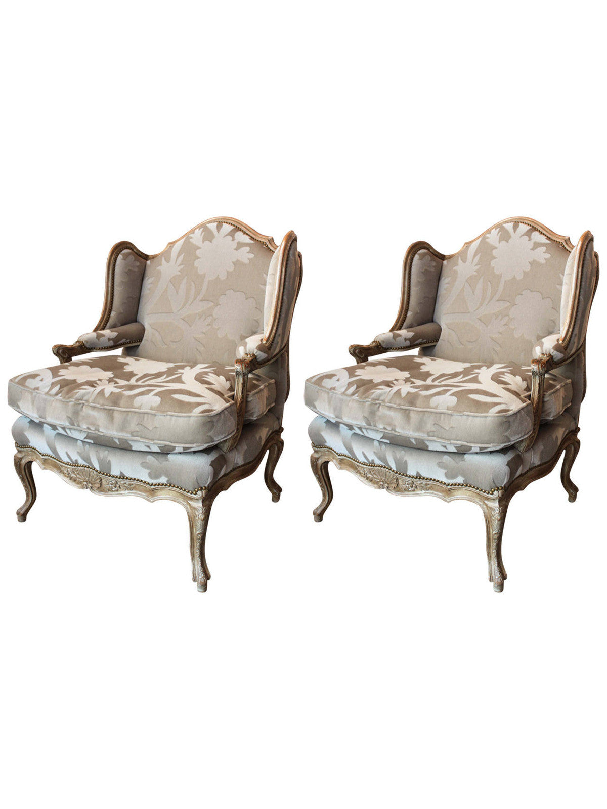 Antique French Bergere Chairs, Pair