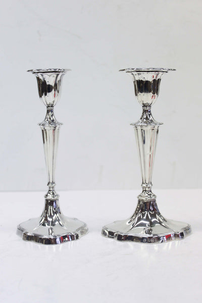 Sterling Silver Sheffield Candlesticks, Pair