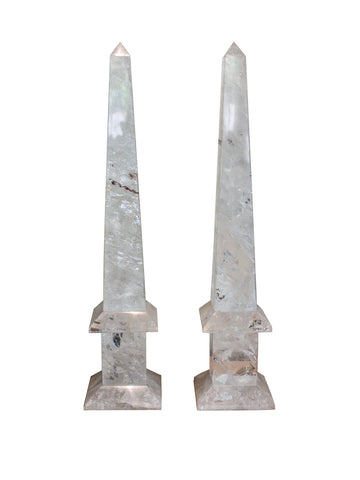 Brazilian Rock Crystal Obelisks Front