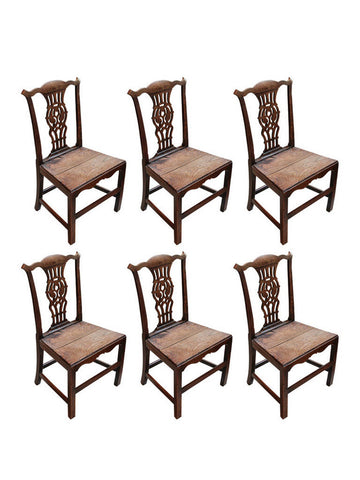 Antique Rustic Chippendale Chairs, Set of Six