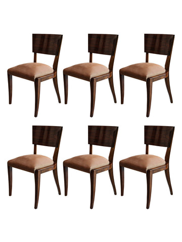 Art Deco Rosewood Dining Chairs, Set of 6