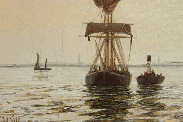 """Shipping in an Estuary"" Oil Painting by Edward Fletcher"