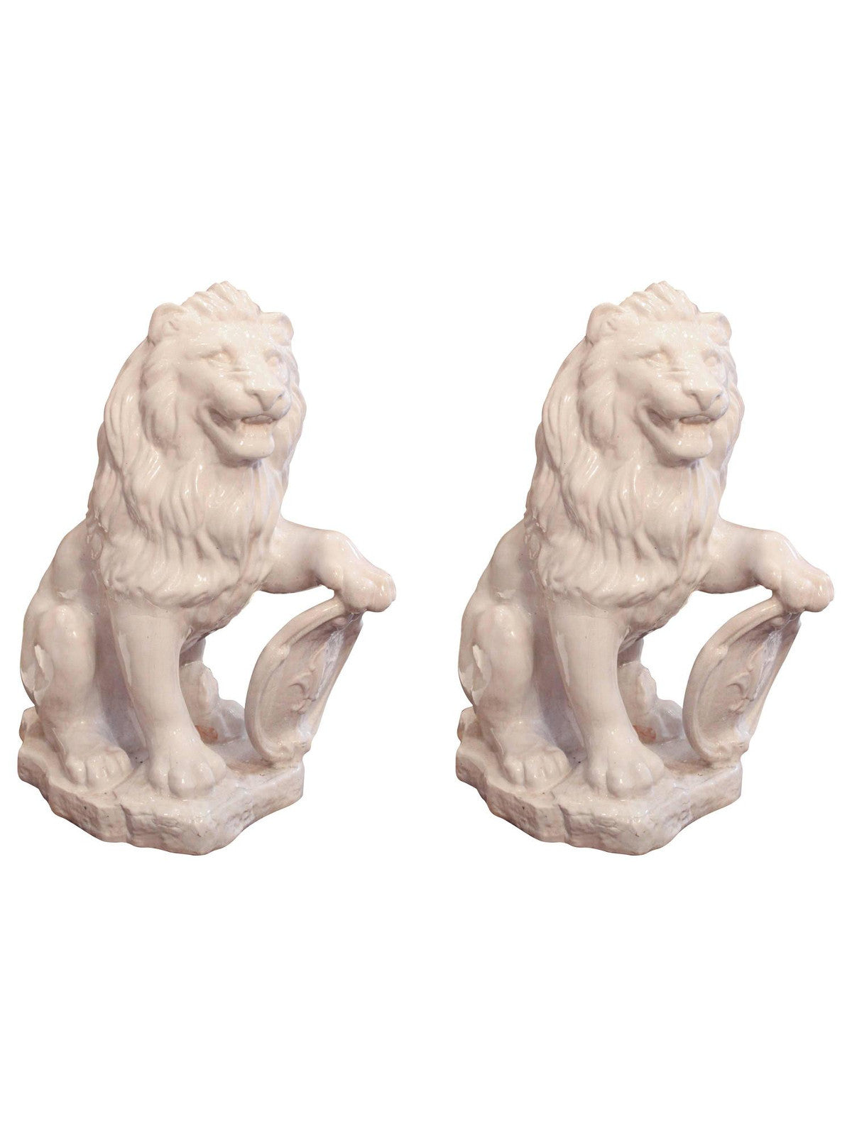 White Terra Cotta Lions, Pair