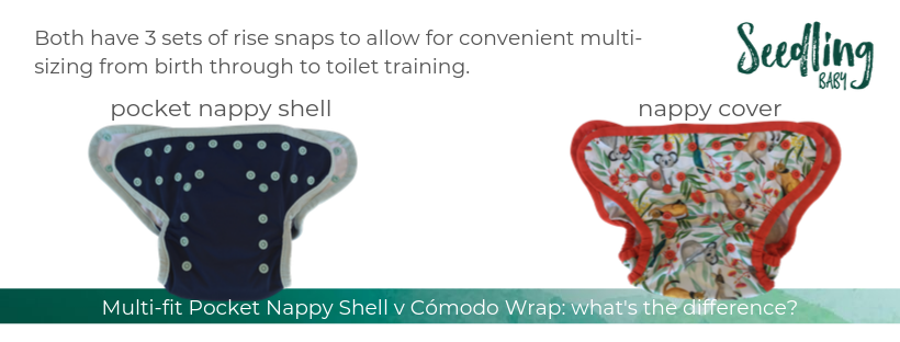 We're often asked what the difference is between our Multi-fit Pocket nappyshell and our Cómodo Wrap, so we thought it would be helpful to turn the answer into a blog post, complete with pictures.