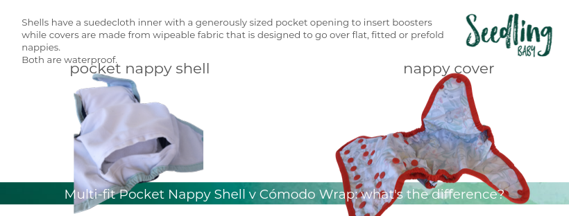 We're often asked what the difference is between our Multi-fit Pocket nappy shell and our Cómodo Wrap, so we thought it would be helpful to turn the answer into a blog post, complete with pictures.