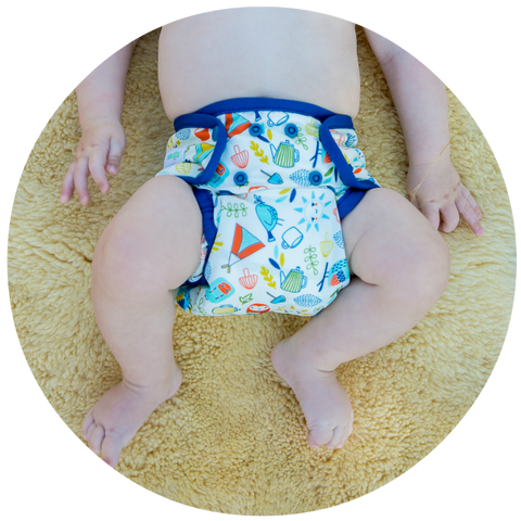 Our nappy is designed to fit most babies between 4 and 16 kgs. This means you don't need to buy extra sizes are your baby grows.