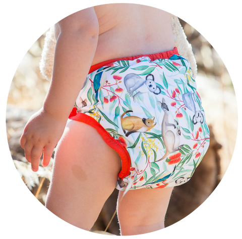 Our nappies come in a range of hand-painted prints and classy solid colours.