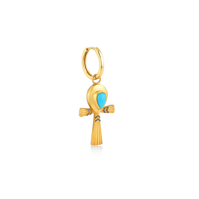 TURQUOISE ANKH RING EARRINGS