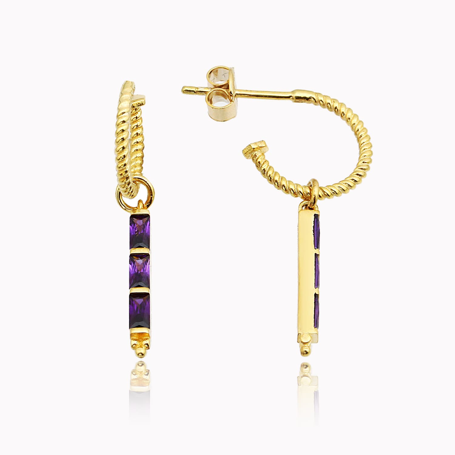 Gold plated minimal earring models