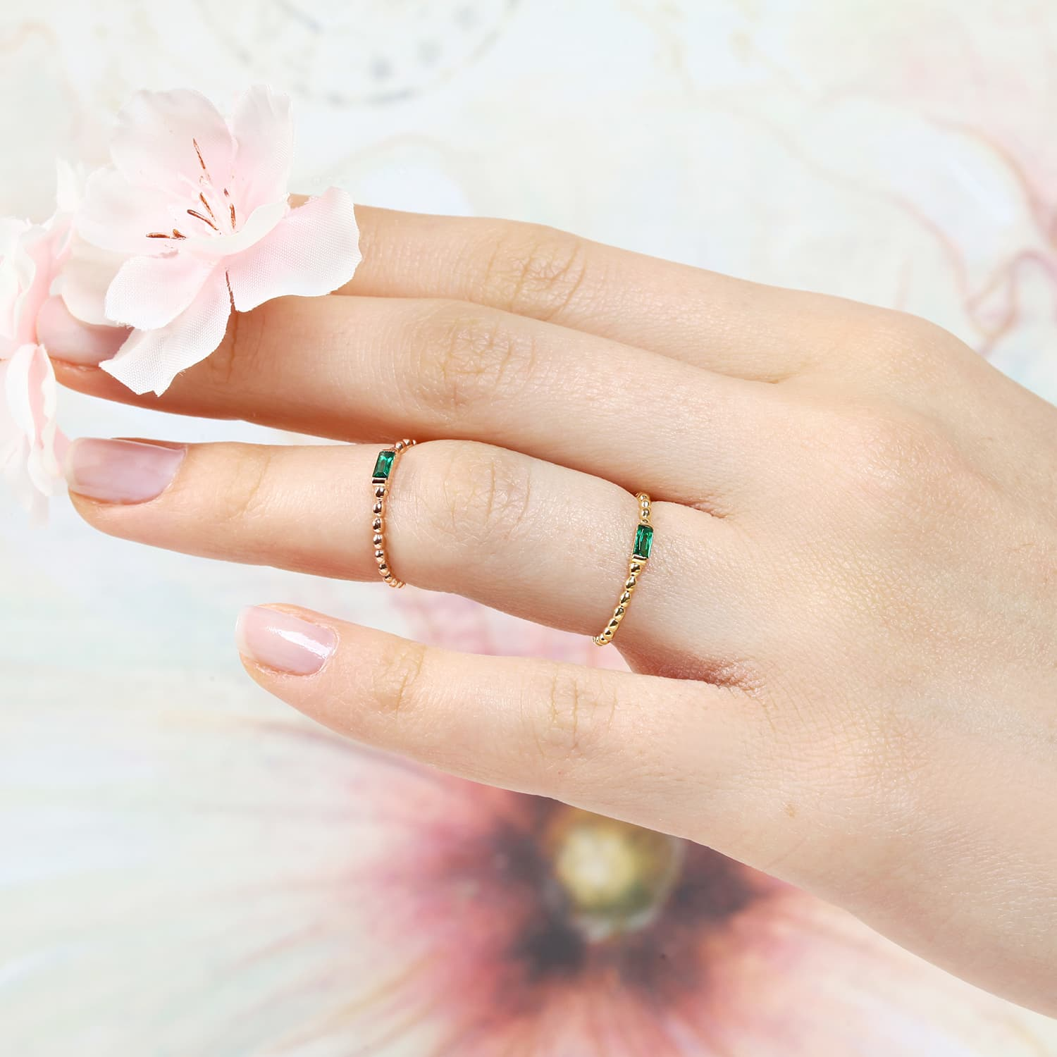 Serfe Colorful Stone Ring - Green