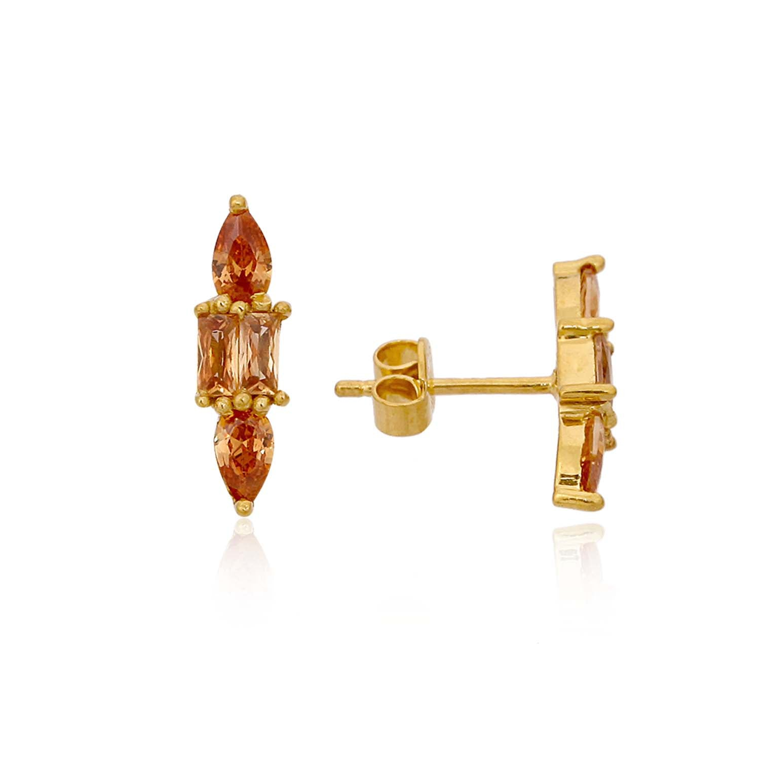 Trito - Gold Plated Earrings Champagne