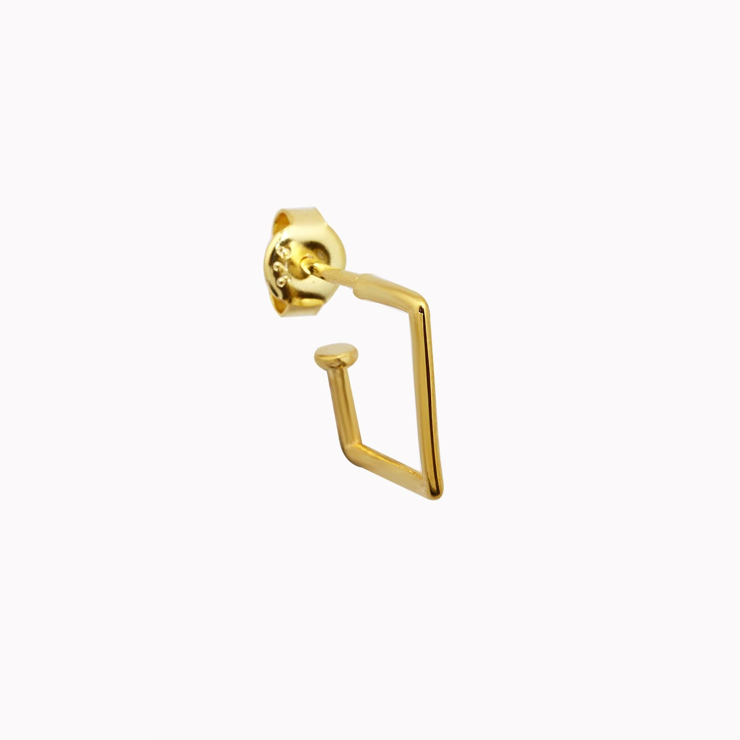 gold plated silver square earrings